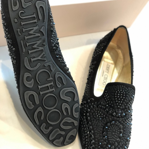 2ceb6436b47 Jimmy Choo Shoes | Womens Black Loafers Embroidered 375 | Poshmark